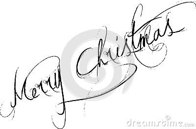 Merry Christmas Words merry Christmas written on white background in curvy handwriting.