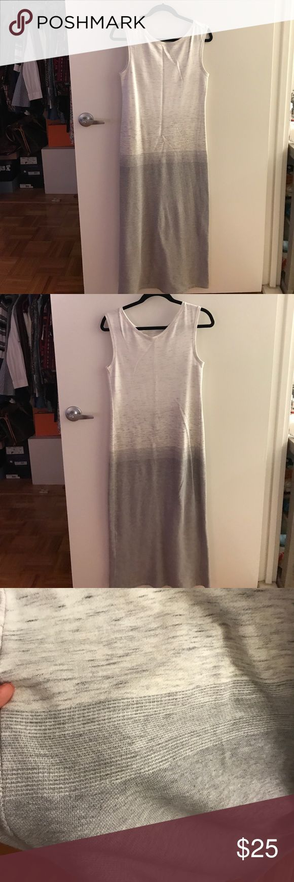 Uniqlo ombré maxi dress Worn three times. Beige to gray ombré pattern. Front neck is slightly higher than back Uniqlo Dresses Maxi