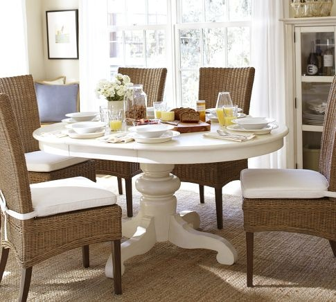 "Tivoli Extending Pedestal Dining Table | Pottery Barn ($799) |  Open: L 63"" x W 45"" x H 30""; Closed: Diameter 45"" Floor to Apron: H 26.5"""