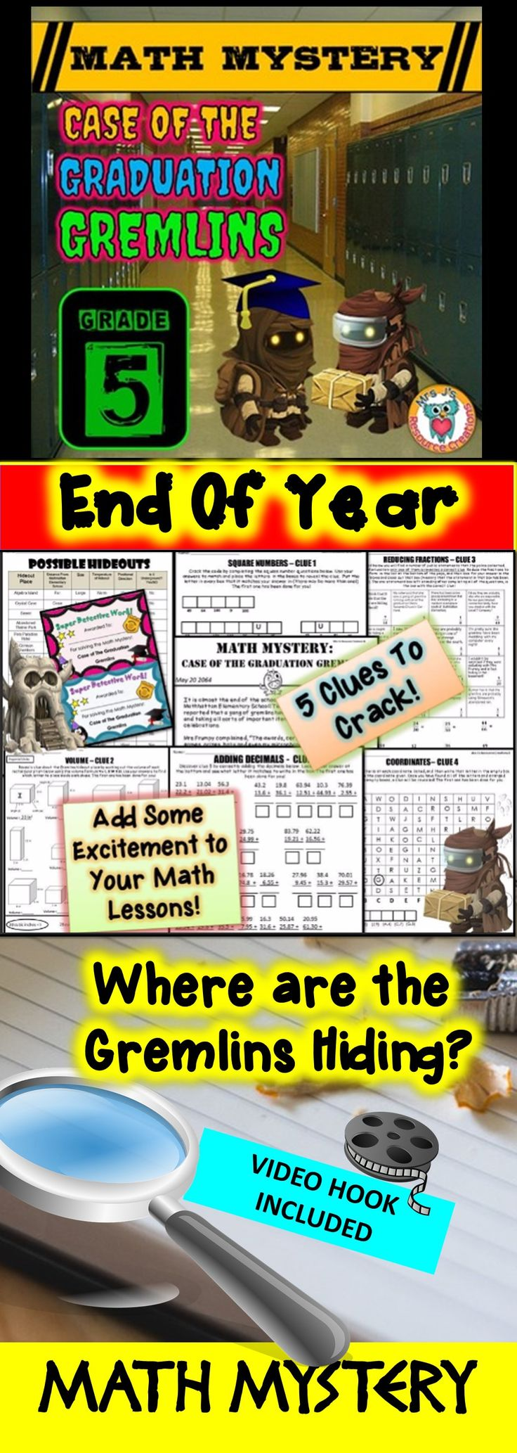 End of Year Math Mystery: Case of The Graduation Gremlins - Fifth Grade Version. Fun math review activity!
