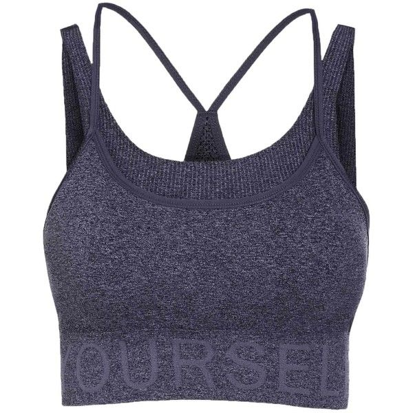Stylish Women s Grey Letter Pattern Sport Bra ($8.88) ❤ liked on Polyvore featuring activewear, sports bras and grey sports bra