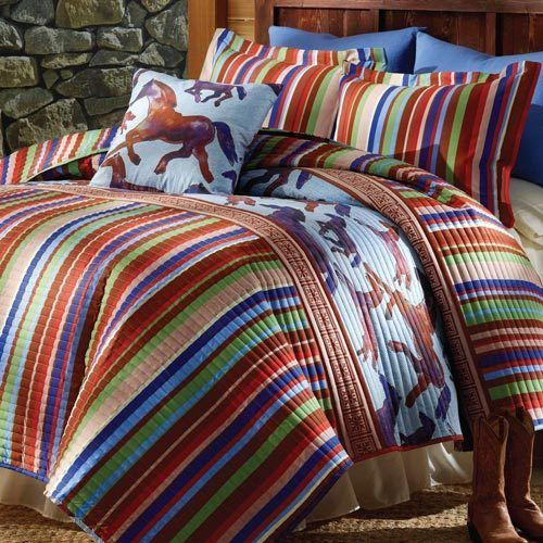3 PC Southwestern Wild Free Horses Quilt with Shams King Size Stripe Bedding #Unbranded #Lodge
