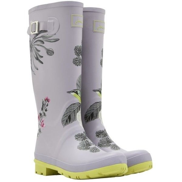 Women's Joules Welly Print Wellington Boots ($44) ❤ liked on Polyvore featuring shoes, boots, pattern boots, print boots, floral print rain boots, floral boots and patterned rain boots