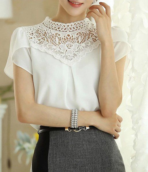 Crochet Flower Casual Round Neck Hollow Out Short Sleeve Blouse For Women