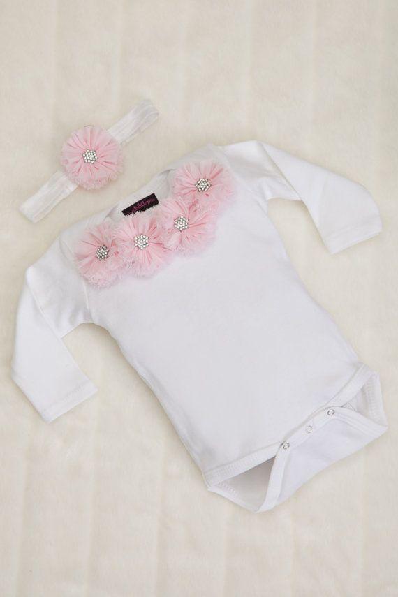 Infant Baby Girl One Piece Set White Long by MyLolliflopsLLC, $26.00
