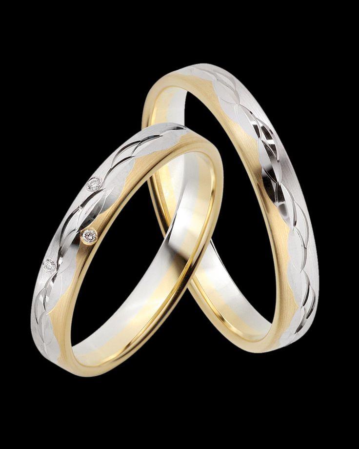 Βέρες Fine Selection δίχρωμες χρυσός-λευκόχρυσος Κ8 με Διαμάντι