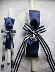 Greek orthodox baptism candles (lambathes)- nautical themed