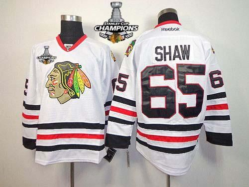 blackhawks 65 andrew shaw white stanley cup champions embroidered nhl jersey