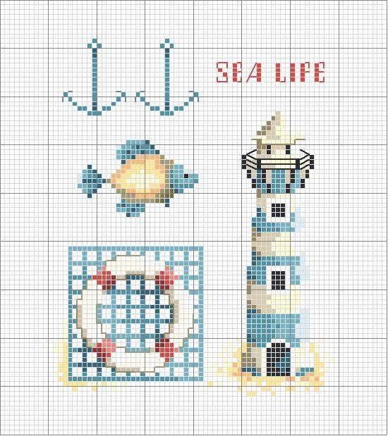 Schema punto croce Faro-marino
