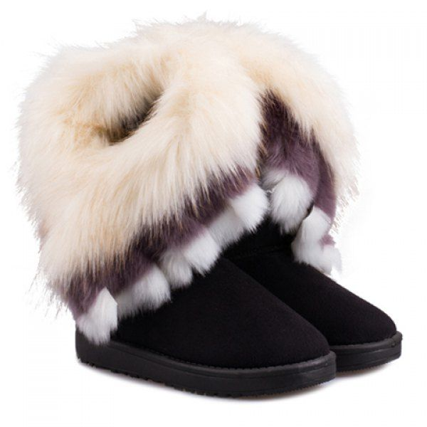 Casual Multicolor Fur Design Women's Snow Boots, BLACK, 40 in Boots | DressLily.com