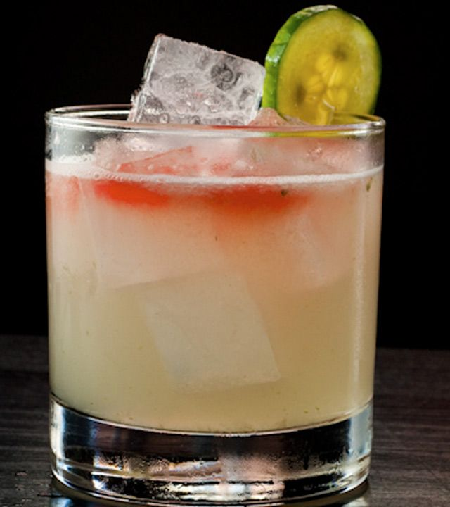 The El Pepino Fresco, made with Blanco Tequila, Peychaud Bitters, Cucumber, Fresh Lime, Elderflower, and Simple Syrup.