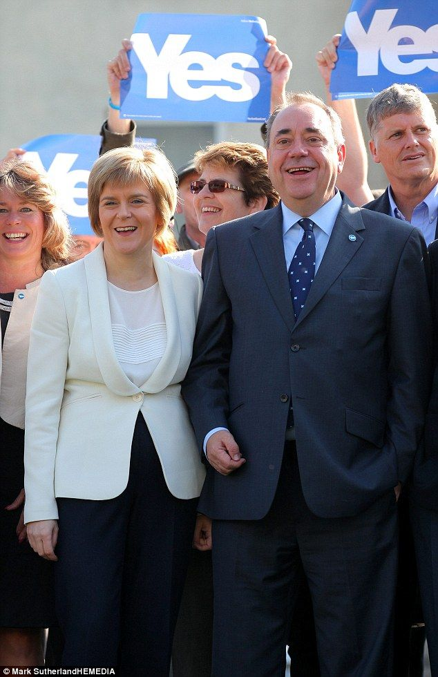Alex Salmond, campaigning in Edinburgh with his deputy Nicola Sturgeon, sought to pitch th...
