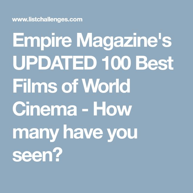 Empire Magazine's UPDATED 100 Best Films of World Cinema - How many have you seen?