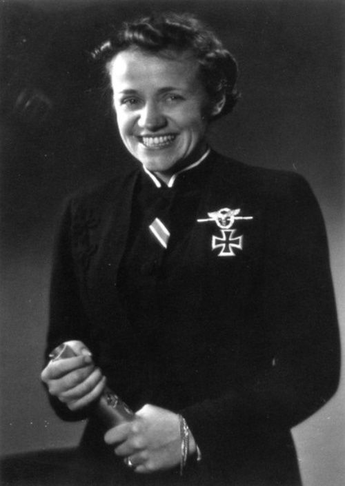 Hanna Reitsch, one of the only women to be awarded the Iron Cross First Class and the Luftwaffe Combined Pilots-Observation Badge in Gold with Diamonds during WWII.