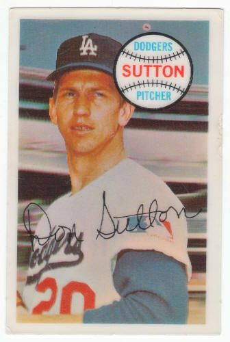 1970 Kellogg's Cereal 3-D #8 Don Sutton, VG/Ex-: surface scratches, no cracks, $4