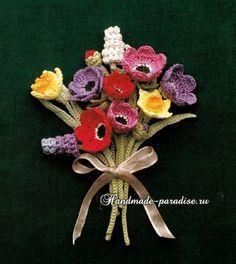 Миниатюрные букетики цветов крючком. Схемы
