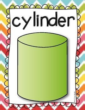 3-Dimensional Shape Posters freebie!!   Includes: cylinder cube pyramid sphere cone rectangular prism