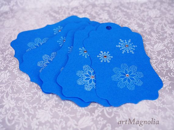 This listing is for five (5) blue Christmas gift tags.  Tags have been cut out from a blue cardstock and hand stamped with white non-toxic ink.