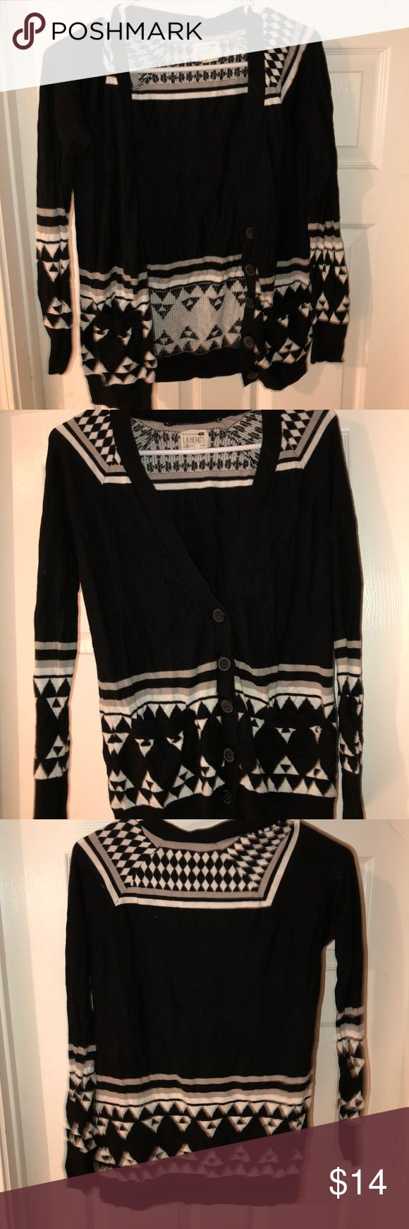 Black/White Tribal Print Cardigan Super soft material, goes down to thigh, feels brand new! La Hearts Sweaters Cardigans
