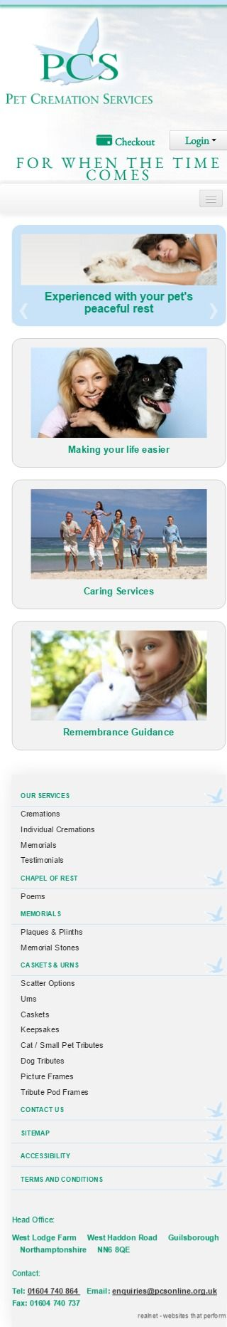PCS - Pet Cremation Services  Pet Cremation Services are a leading, individual pet cremation specialist. Their success has been achieved through their commitment to high quality and a sensitive service - Mobile display