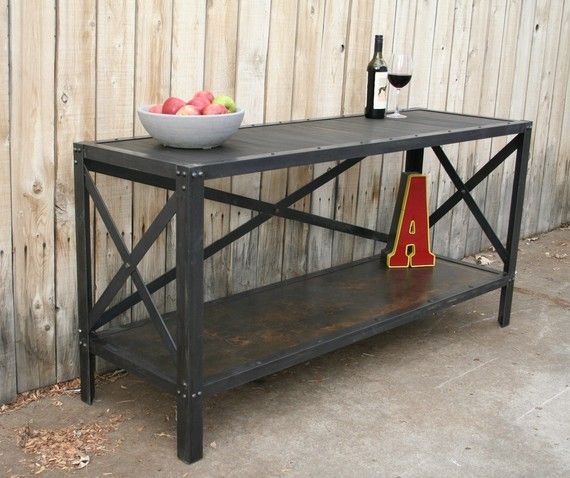 Handmade Scrap Metal And Wood Industrial Style Table By Jreal
