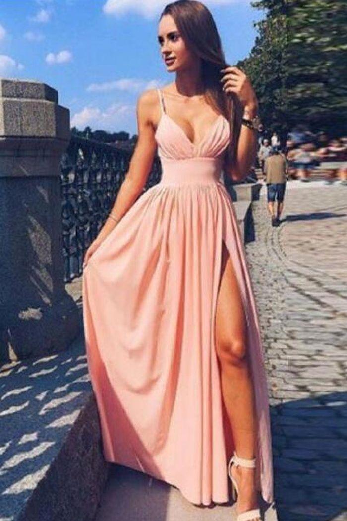 A-Line Spaghetti Straps Slit Leg Pink Prom Dress with Pleats  064ec11d3