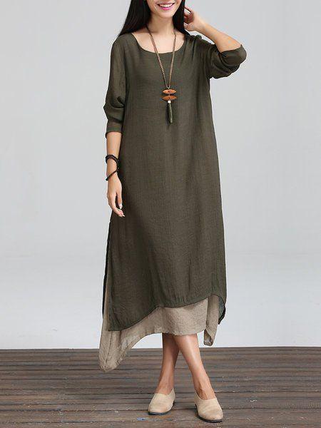 Shop Casual Dresses - Coffee Long Sleeve Linen Crew Neck Casual Dress online. Discover unique designers fashion at justfashionnow.com.