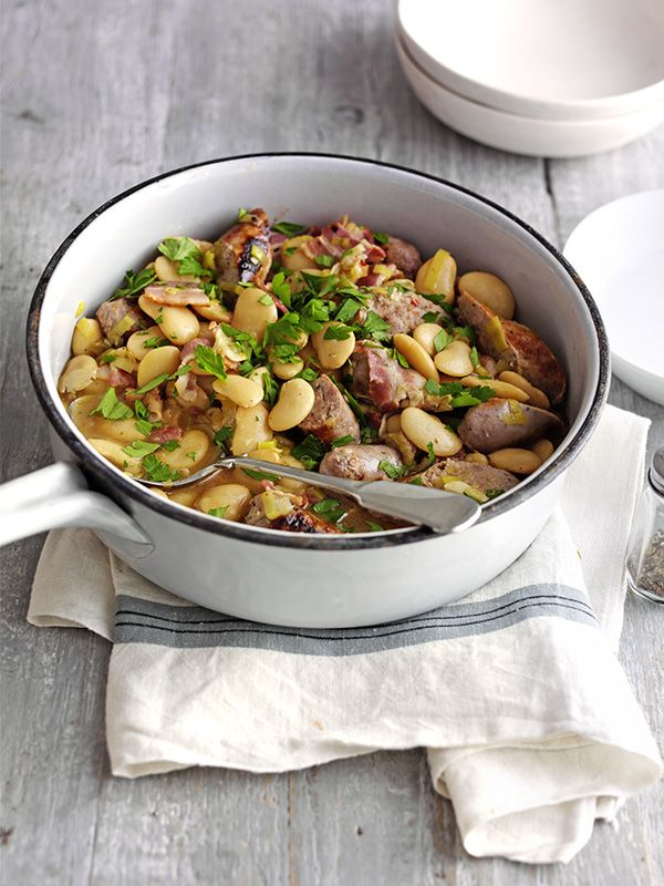 This sausage and butterbean casserole recipe is ready in under an hour and under 500 calories - perfect for a midweek meal