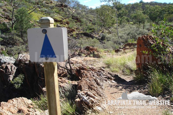 Track Cam: Official Larapinta Trail marker. Image shows typical track conditions and scenery along Section 2, Larapinta Trail. © Explorers Australia Pty Ltd 2013