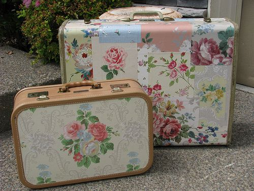 Closeup of decoupaged suitcases. These cases are terrific for storeing bigger scrapbooking supplies, too.