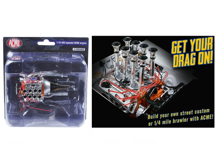 Fuel Injected 426 Hemi Engine and Transmission Replica 1/18 by Acme - Brand new 1:18 scale Fuel Injected 426 Hemi Engine and Transmission Replica by Acme.-Weight: 2. Height: 6. Width: 11. Box Weight: 2. Box Width: 11. Box Height: 6. Box Depth: 5