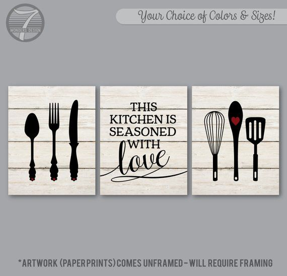 Kitchen Wall Art This Kitchen Is Seasoned With Love Faux Etsy In 2021 Rustic Kitchen Wall Art Kitchen Wall Art Kitchen Decor Wall Art