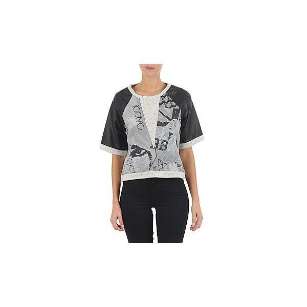 Brigitte Bardot BB43025 Sweatshirt (290 RON) ❤ liked on Polyvore featuring tops, hoodies, sweatshirts, grey, patterned tops, gray top, patchwork top, print sweatshirt and mixed print top