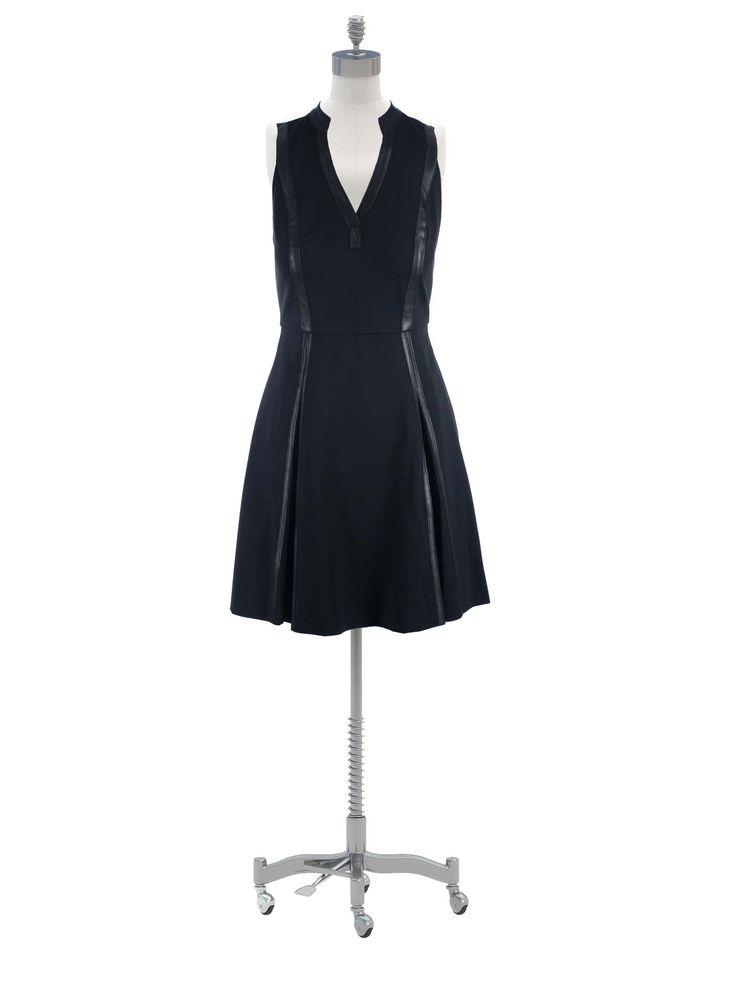 Rebecca Taylor Black Ponte Leather Trim Panel Dress