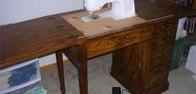 How to turn old sewing table into one that will hold your new sewing machine. Just in case I get a new fancy one!