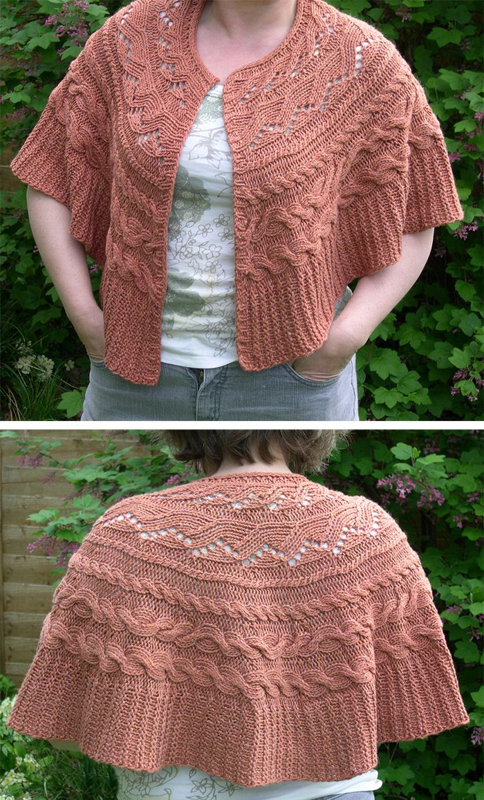 Free Knitting Pattern for Aran Cable Circle Wrap - shaped with short rows. Available in English and German. \Designed by IzzyKnits