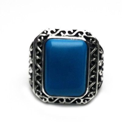 VINTAGE MENS RING 925 STERLING SILVER TURQUOISE GEMSTONE OXIDIZED RING 10.75 US