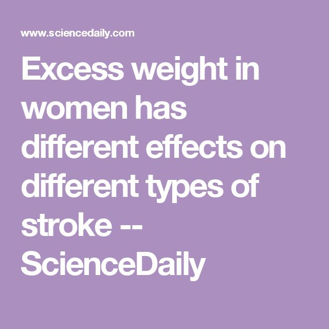 Excess weight in women has different effects on different types of stroke -- ScienceDaily