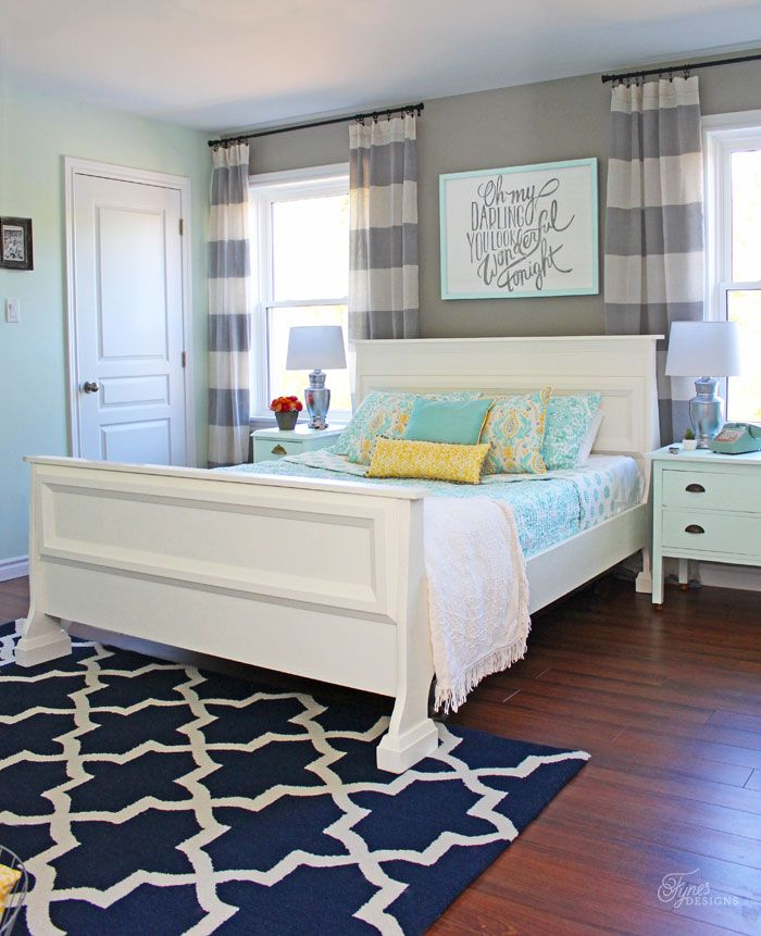 Fynes Designs Master Bedroom Reveal With Fresh Farmhouse Touches Includes An Accent Wall In Hot