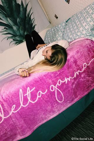 Delta Gamma Ombre Velvet Plush Blanket
