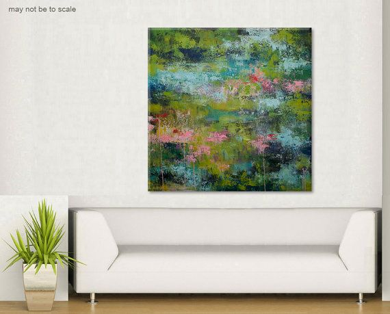 Large original Abstract Painting Old pond by ElenasArtStudio