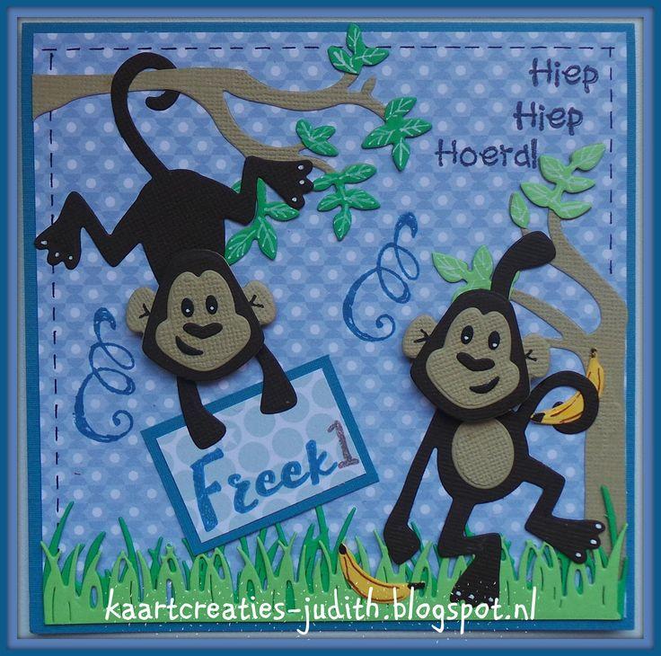 Marianne Design: COL1399 Monkey CR1355 Gras EC0158/0159 Handlettering PL1524 Verjaardag LR0203 Boom PB7049 Eline's Babies blue