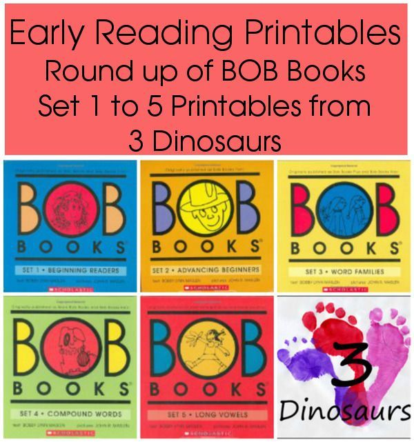 BOB Books Printables Round Up - Link to all the Early reading printables for BOB Books sets 1 to 5 on  3Dinosaurs.com