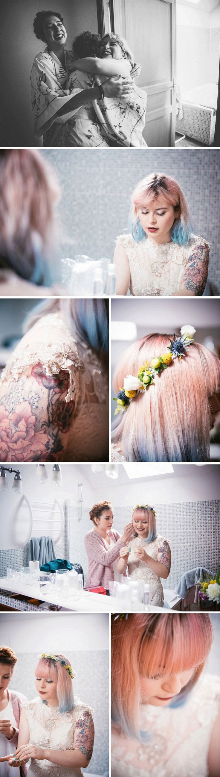 Indie bride with pink and blue hair - tattoeed bride - alternative bride and rock n roll wedding photographer - Zephyr & Luna photograhy