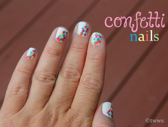 Confetti Nails!!: Black Backgrounds, Confetti Nails Neat, Super Cute Nails, Confet Nails, Confetti Nails Cut, Confetti Sprinkles, Confetti Nails Fun, Diy Confetti, Nails Tutorials