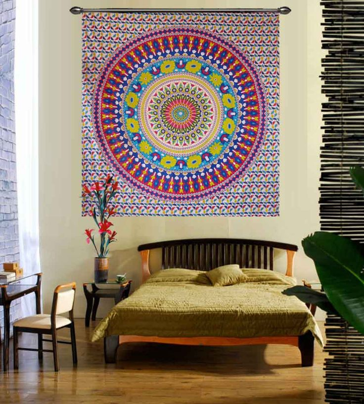 Hippie yellow flower print wall hanging tapestry.Perfect for topping a bed, couch, wall or your favorite chair.This Wall Tapestry can also be used as a: - Tapestry or a Wall Hanging, Bedspread, Bed Cover, Table Cloth, Curtain, Dorm Decor, Picnic Sheet Add an ethnic feel to your room with this cotton handmade wall hanging.