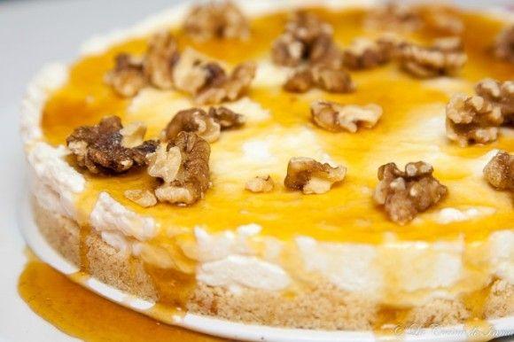 Tarta Mousse de Yogurt Griego, Miel y Nueces / Mousse Greek Yogurt with honey and walnuts cake recipe