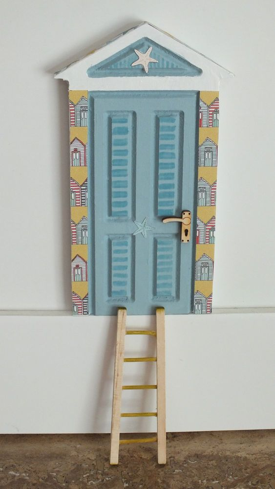 Fairy door hand painted skirting board wall beach hut door for Fairy door for wall