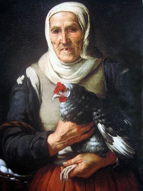 """"""" Vieja con gallina y cesta de huevos""""  Murillo"""