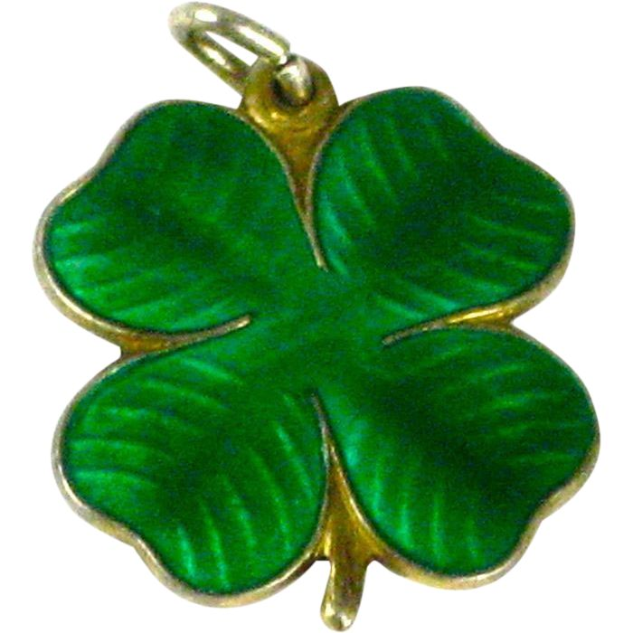 Sterling Guilloche Enamel Finn Jensen 4 Leaf Clover Charm - available at the Vintage Jewelry Boutique on Ruby Lane.